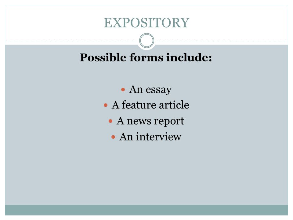 Possible forms include: