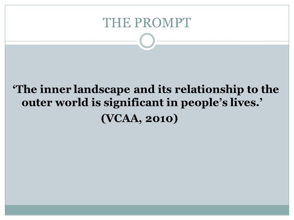 THE PROMPT 'The inner landscape and its relationship to the outer world is significant in people's lives.'