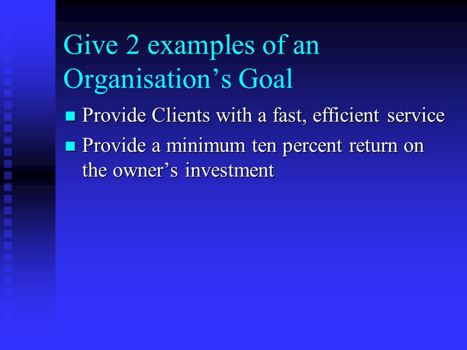 Give 2 examples of an Organisation's Goal