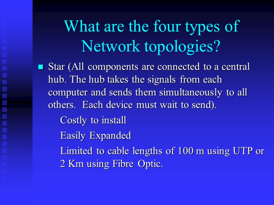 What are the four types of Network topologies