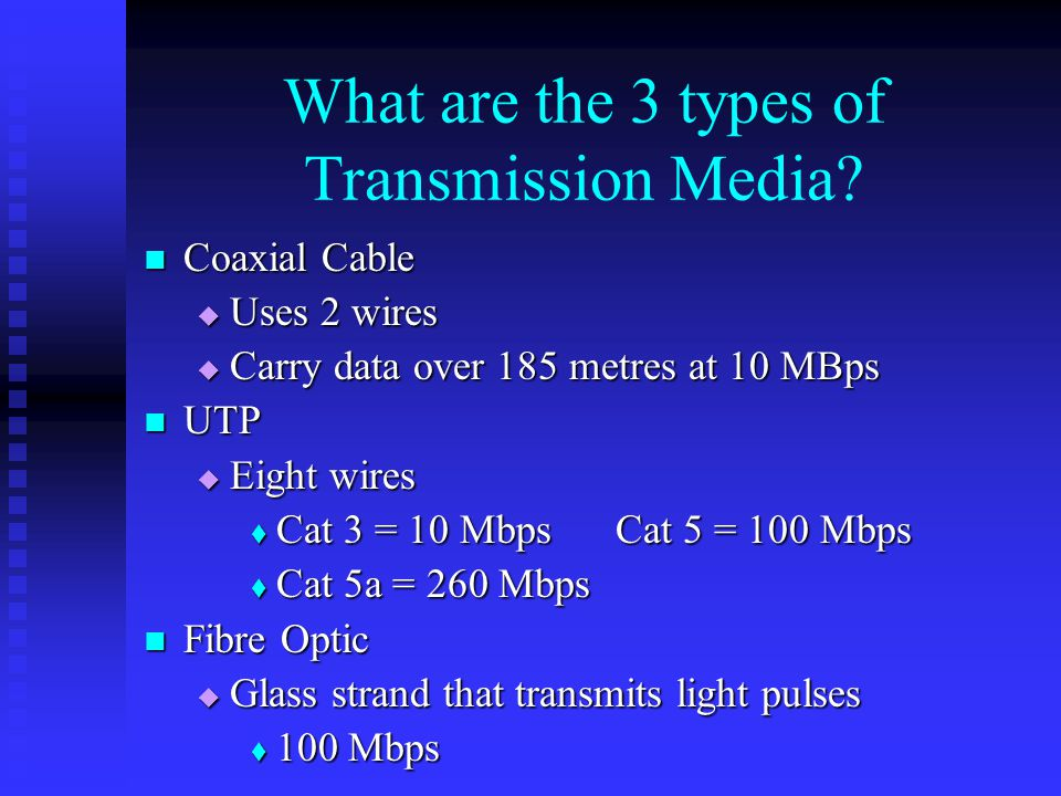 What are the 3 types of Transmission Media