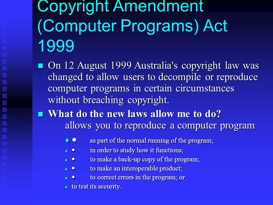 Copyright Amendment (Computer Programs) Act 1999