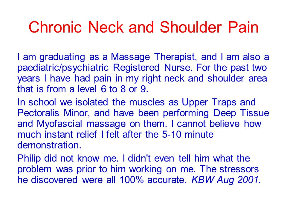 Chronic Neck and Shoulder Pain