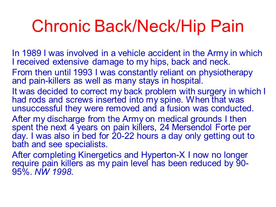 Chronic Back/Neck/Hip Pain