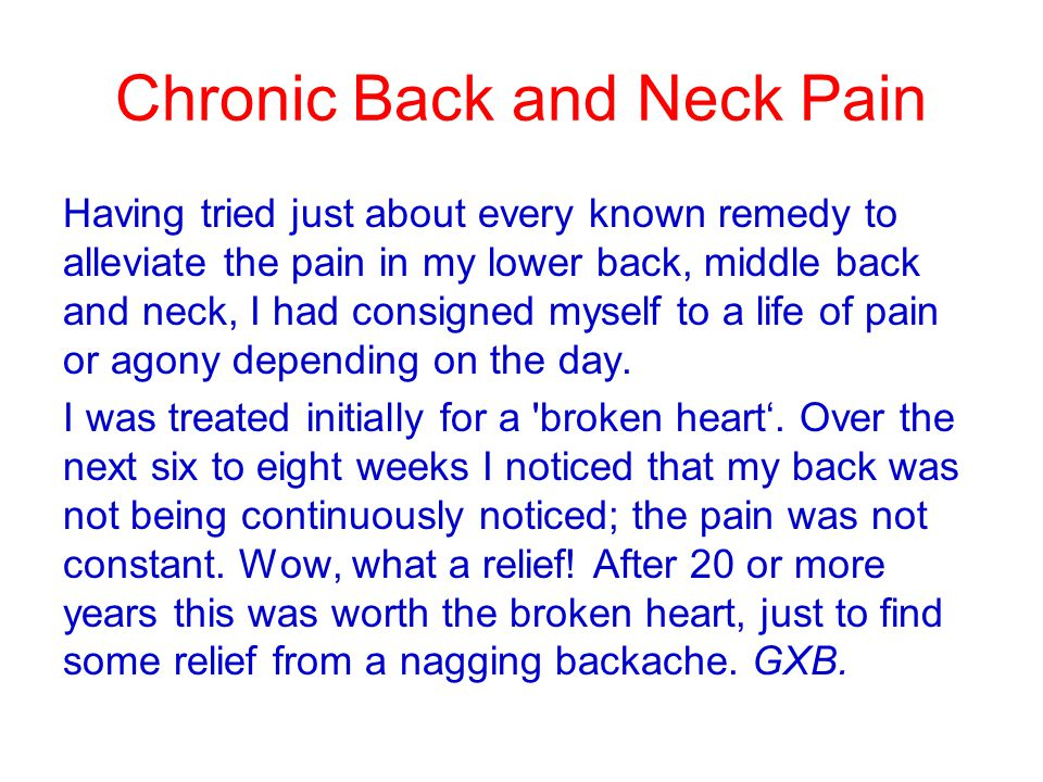 Chronic Back and Neck Pain