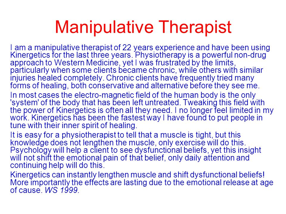 Manipulative Therapist