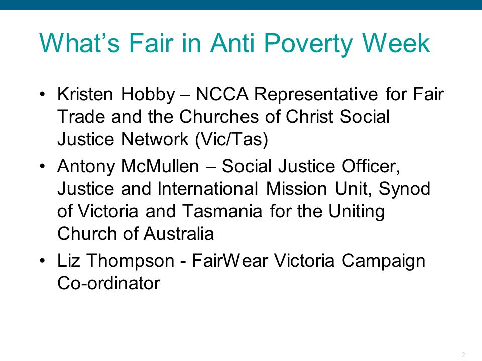 What's Fair in Anti Poverty Week
