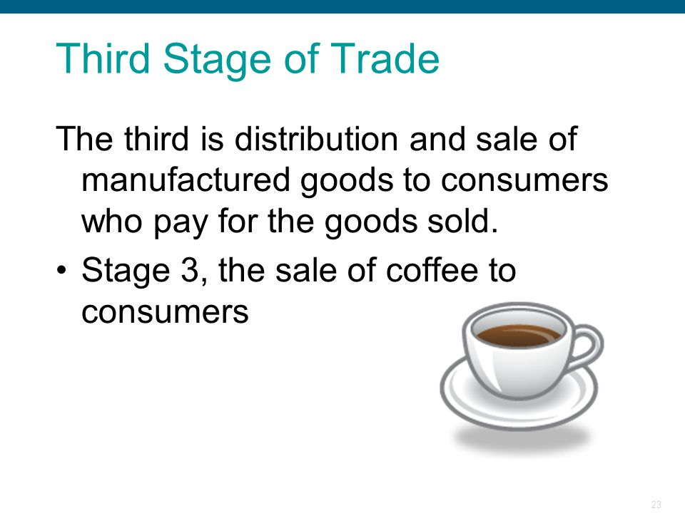Third Stage of Trade The third is distribution and sale of manufactured goods to consumers who pay for the goods sold.