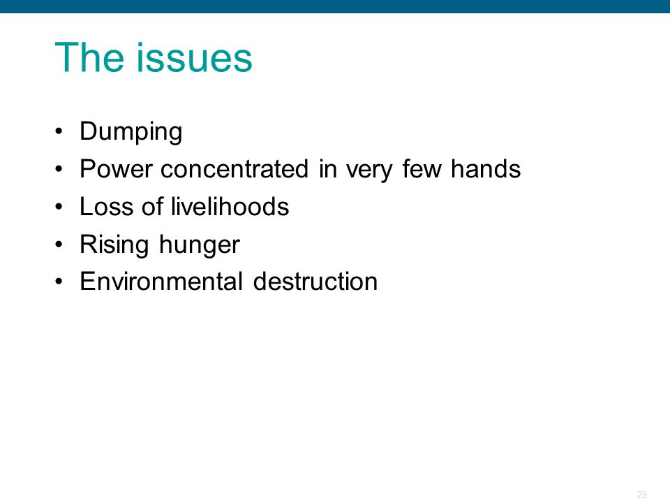 The issues Dumping Power concentrated in very few hands