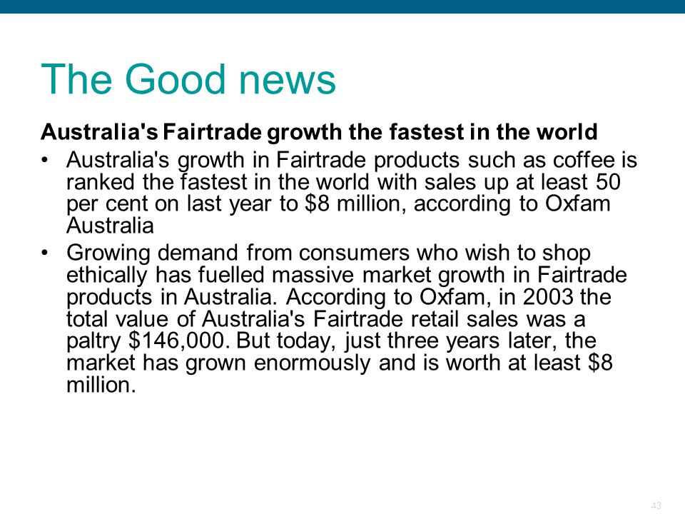 The Good news Australia s Fairtrade growth the fastest in the world