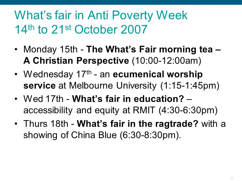 What's fair in Anti Poverty Week 14th to 21st October 2007