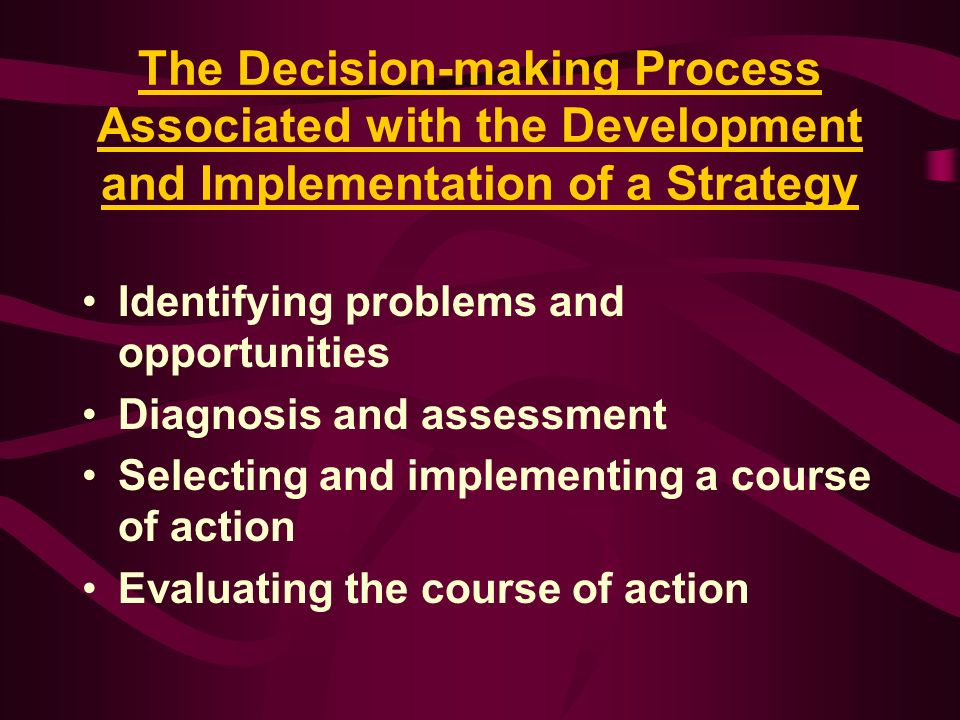 The Decision-making Process Associated with the Development and Implementation of a Strategy