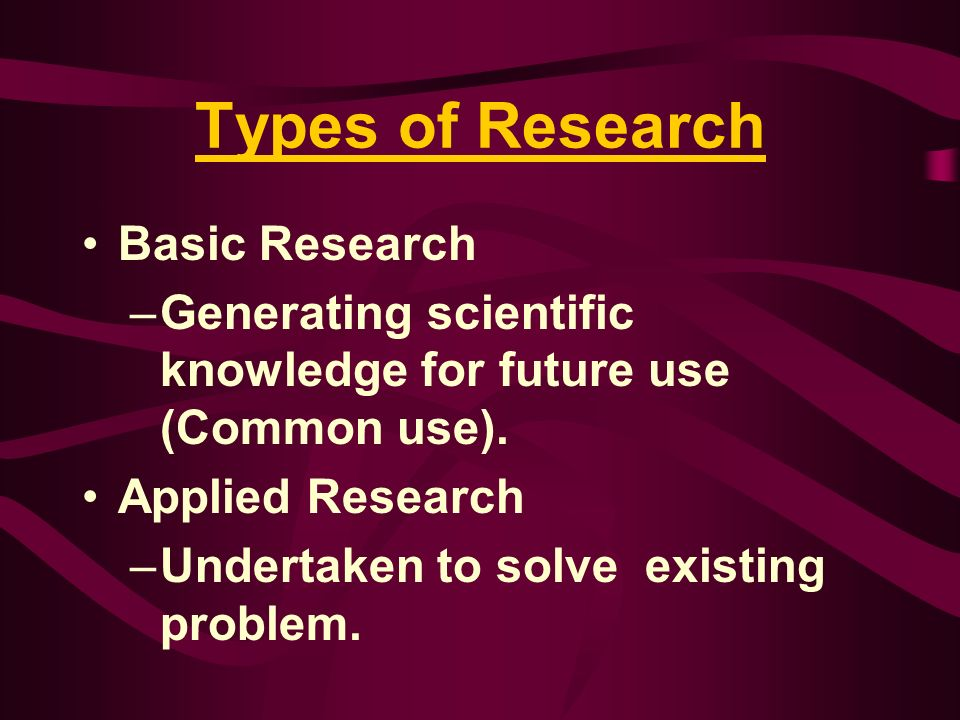 Types of Research Basic Research
