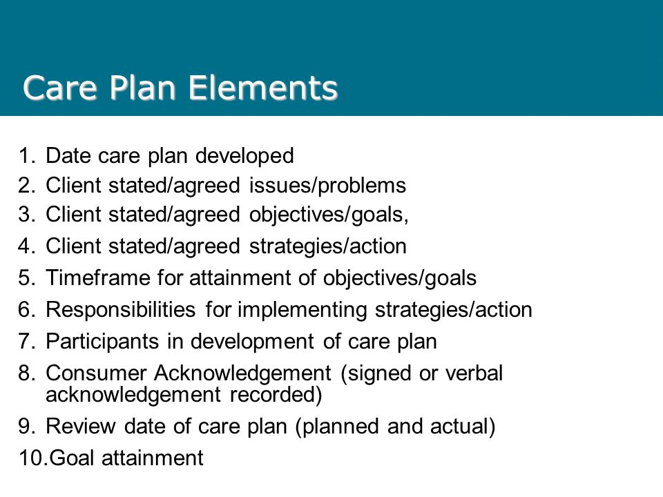 Care Plan Elements Date care plan developed