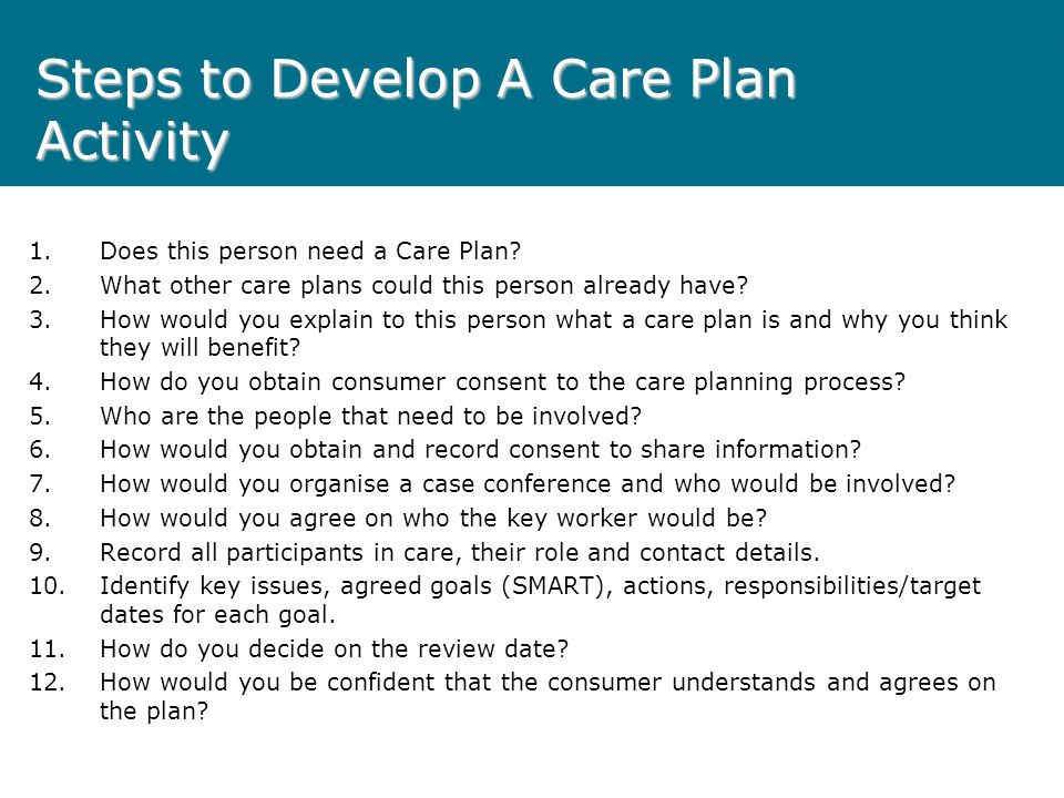 Steps to Develop A Care Plan Activity