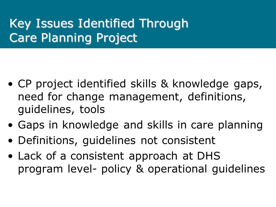 Key Issues Identified Through Care Planning Project