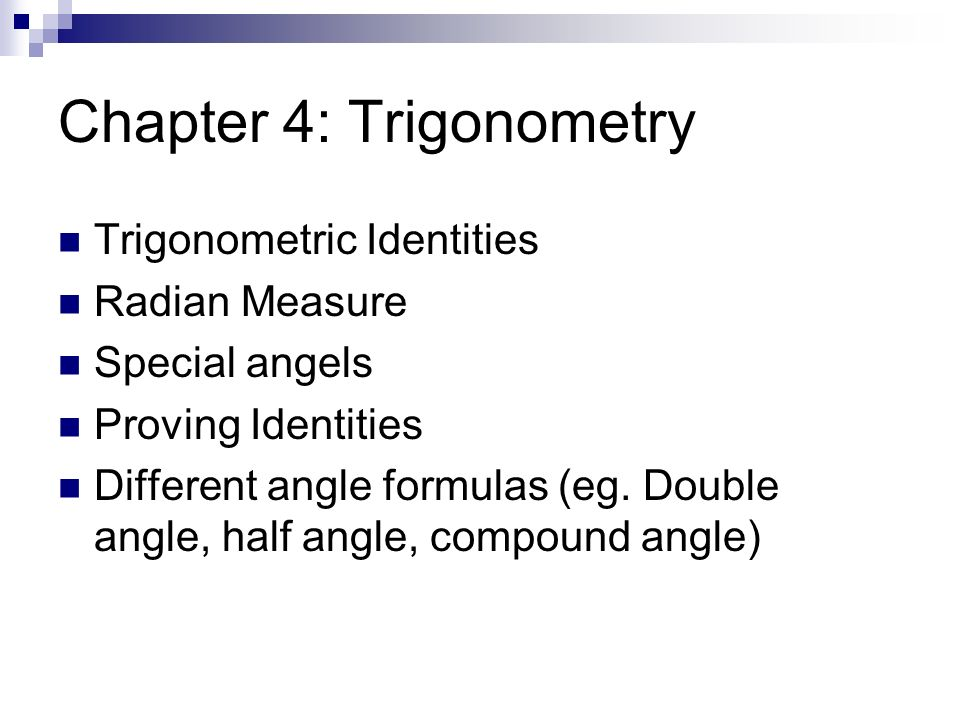 Chapter 4: Trigonometry