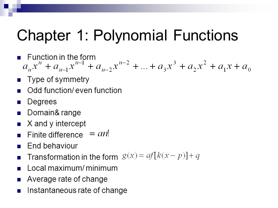 Chapter 1: Polynomial Functions