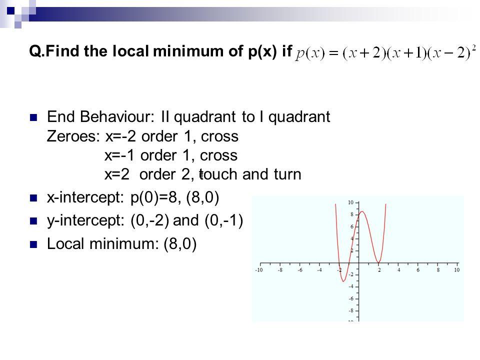 Q.Find the local minimum of p(x) if
