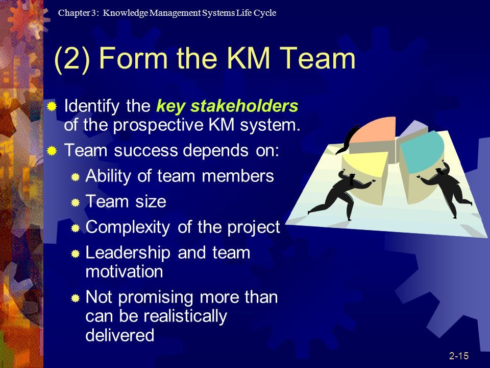 (2) Form the KM Team Identify the key stakeholders of the prospective KM system. Team success depends on: