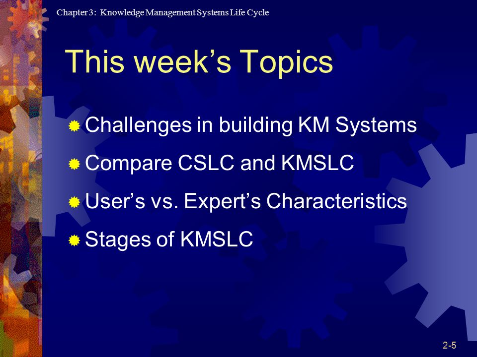 This week's Topics Challenges in building KM Systems