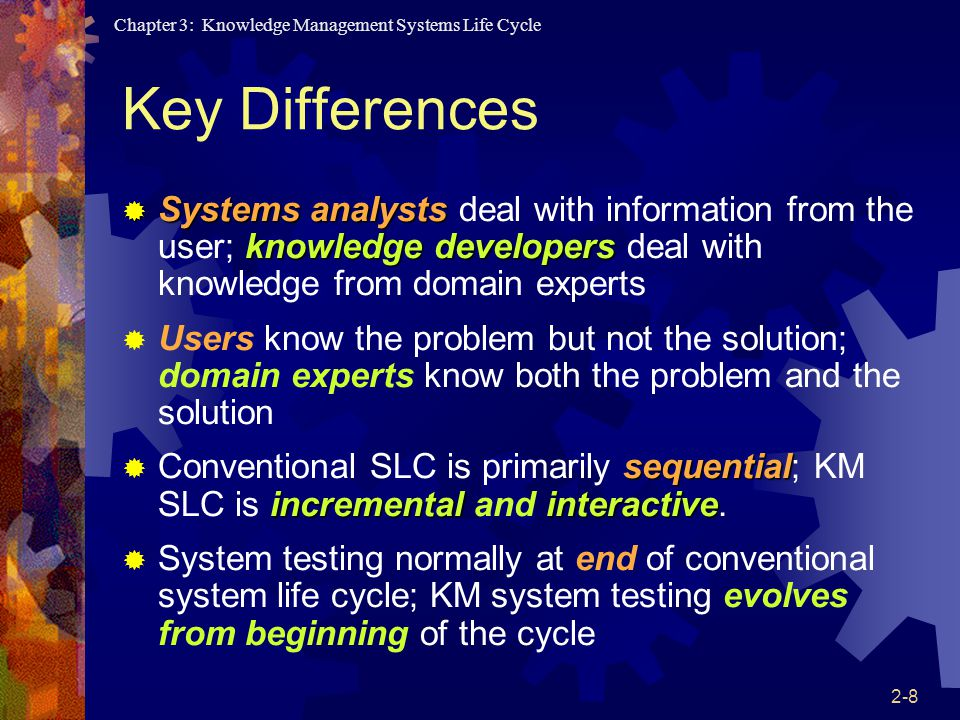 Key Differences Systems analysts deal with information from the user; knowledge developers deal with knowledge from domain experts.