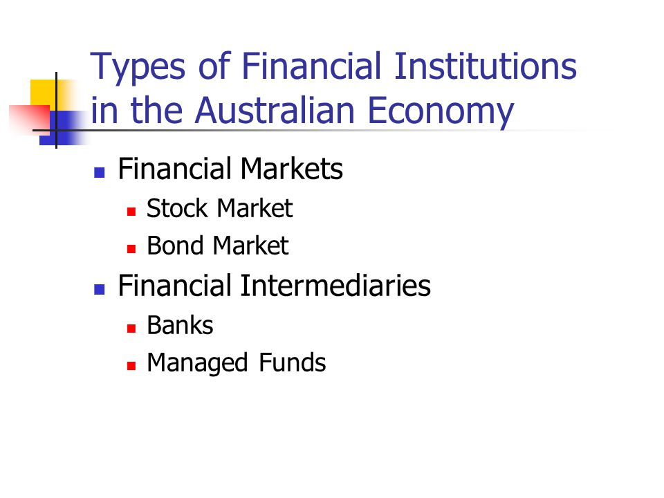Types of Financial Institutions in the Australian Economy