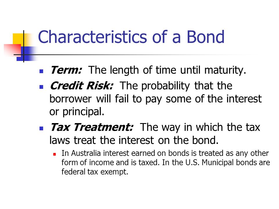 Characteristics of a Bond