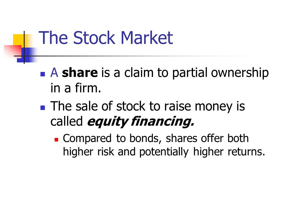The Stock Market A share is a claim to partial ownership in a firm.