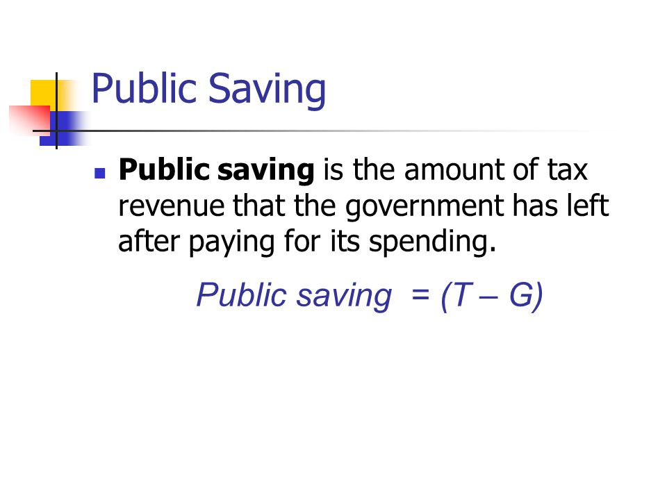 Public Saving Public saving = (T – G)