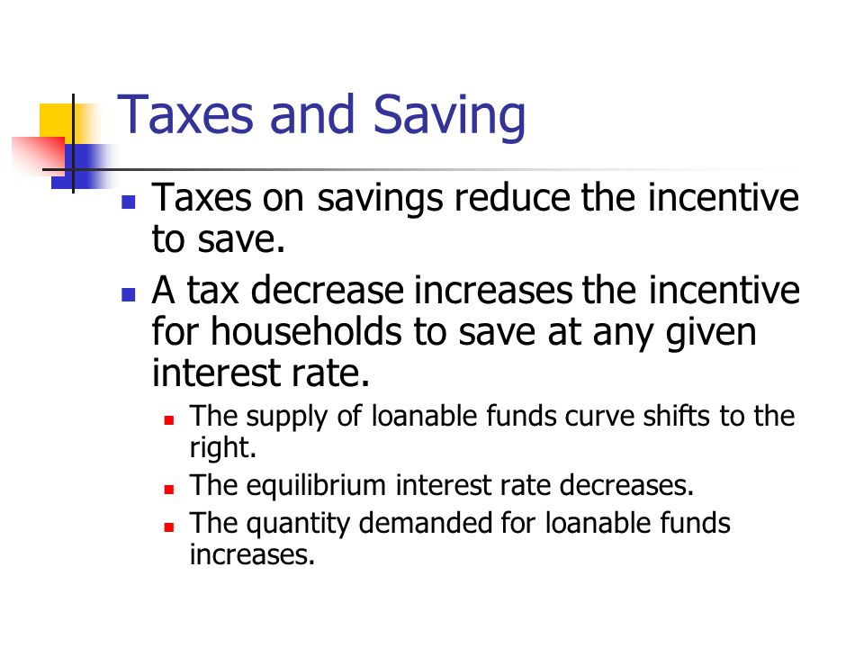 Taxes and Saving Taxes on savings reduce the incentive to save.
