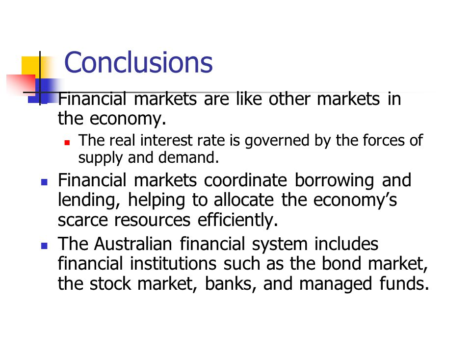 Conclusions Financial markets are like other markets in the economy.