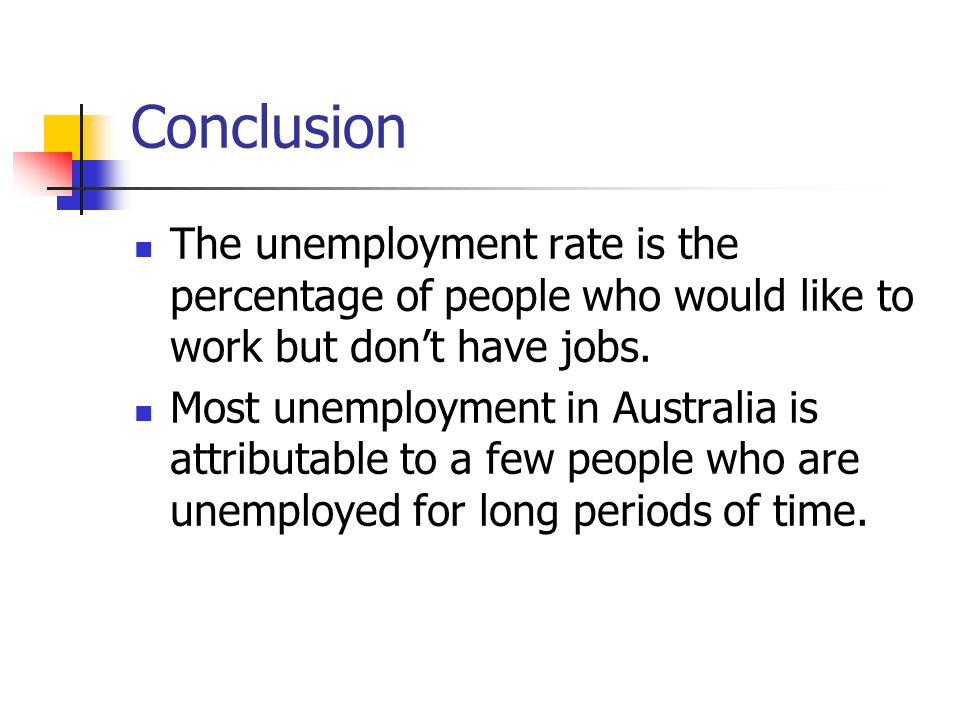 Conclusion The unemployment rate is the percentage of people who would like to work but don't have jobs.
