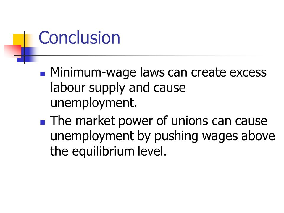 Conclusion Minimum-wage laws can create excess labour supply and cause unemployment.