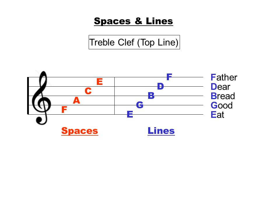 Spaces & Lines Treble Clef (Top Line) F Father E D Dear C B Bread A G Good F E Eat Spaces Lines