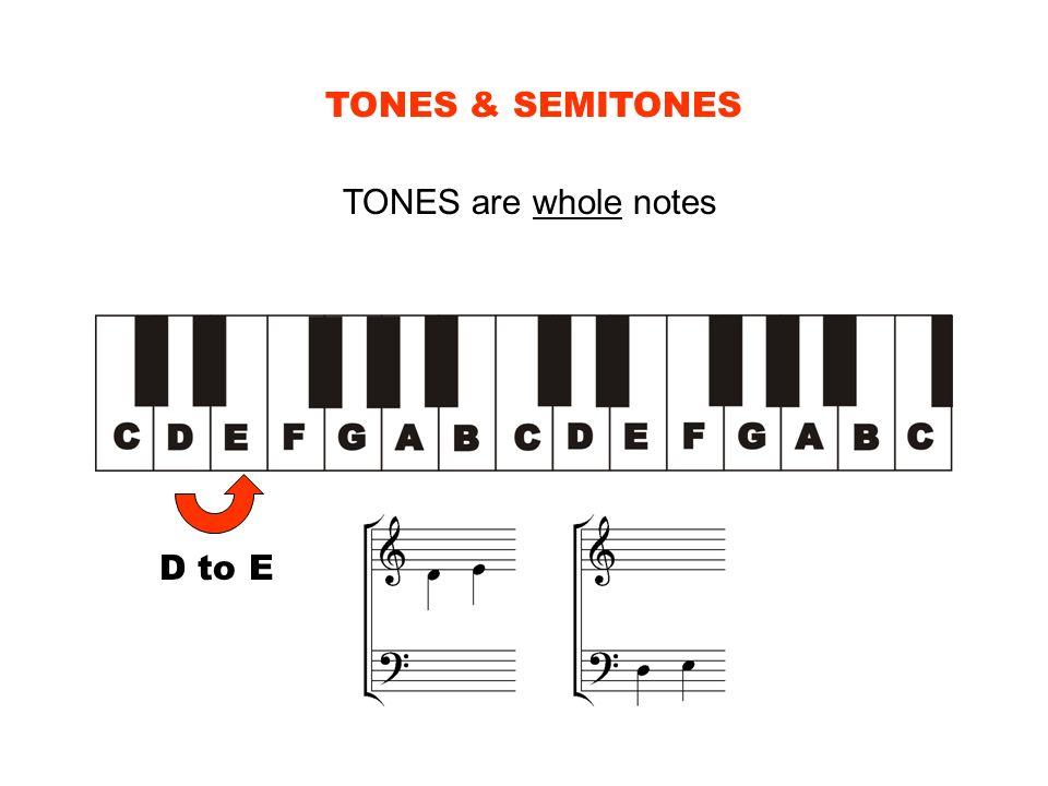 TONES & SEMITONES TONES are whole notes D to E