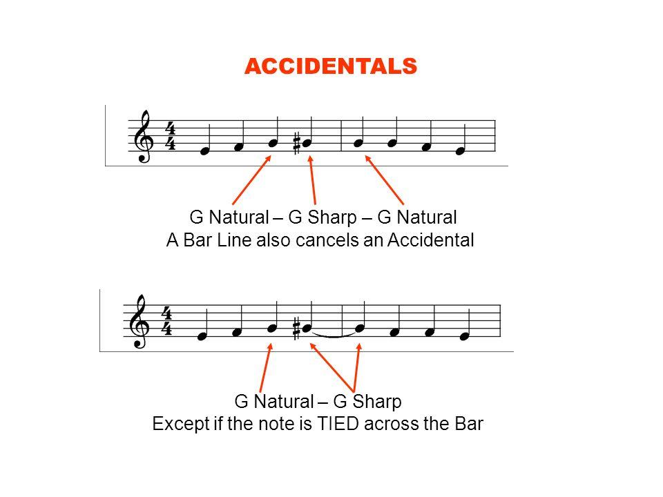 G Natural – G Sharp – G Natural A Bar Line also cancels an Accidental
