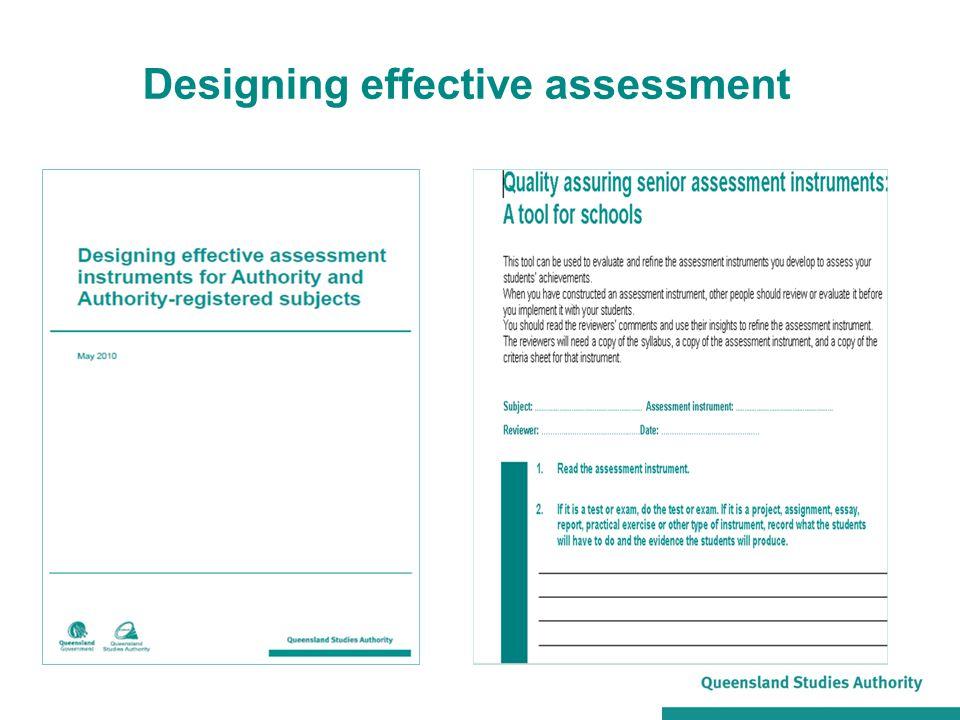 Designing effective assessment