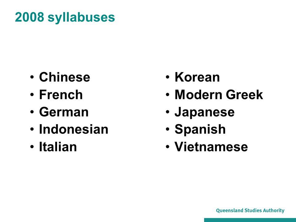 2008 syllabuses Chinese. French. German. Indonesian. Italian. Korean. Modern Greek. Japanese.