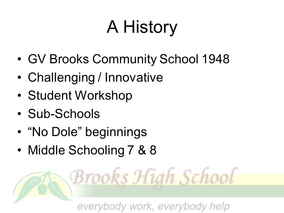 A History GV Brooks Community School 1948 Challenging / Innovative