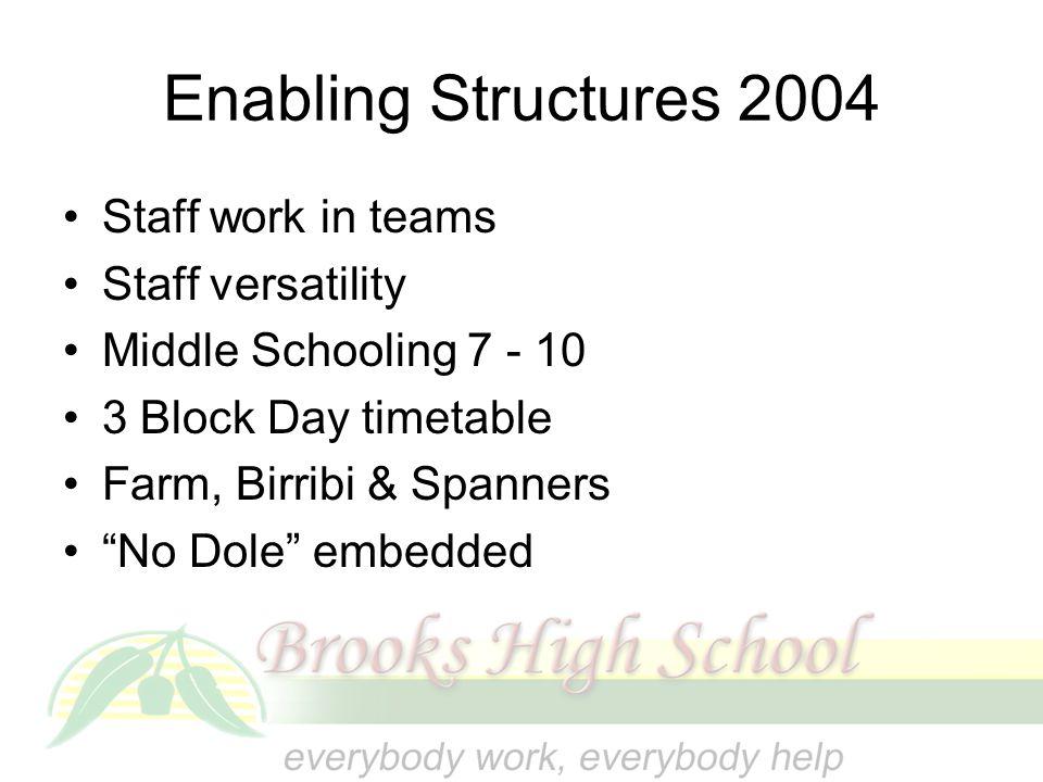 Enabling Structures 2004 Staff work in teams Staff versatility