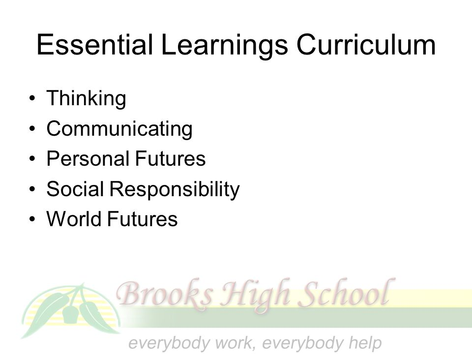 Essential Learnings Curriculum