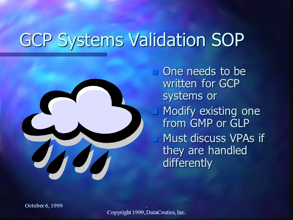 GCP Systems Validation SOP