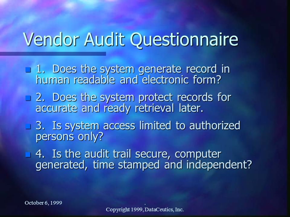 Vendor Audit Questionnaire