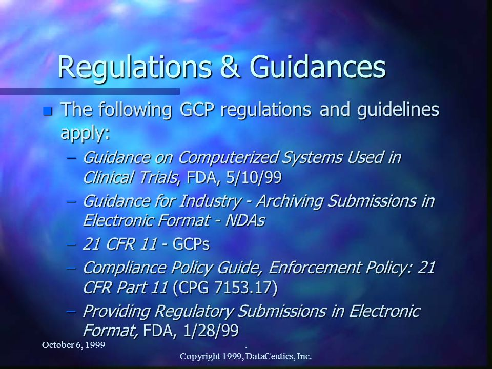 Regulations & Guidances