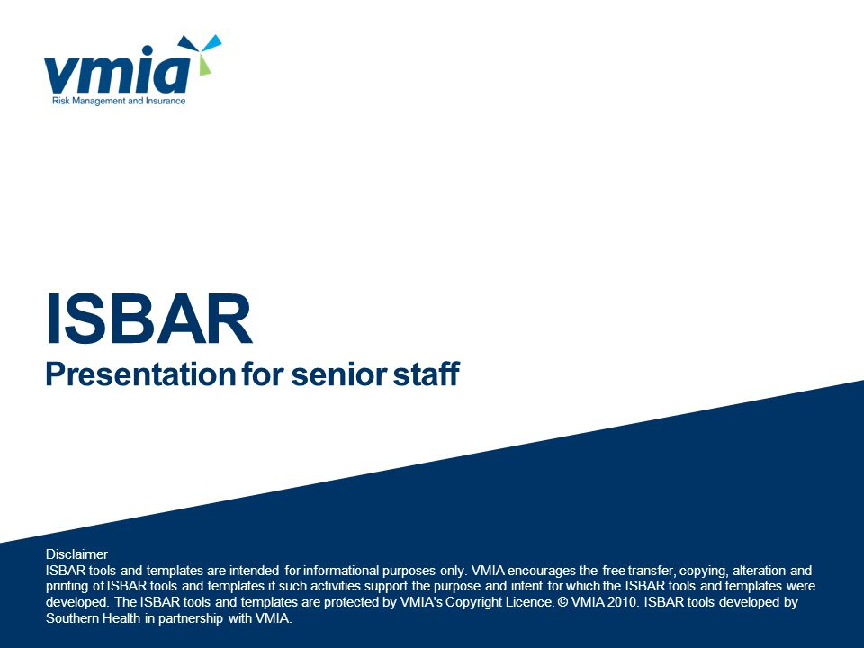 ISBAR Presentation for senior staff