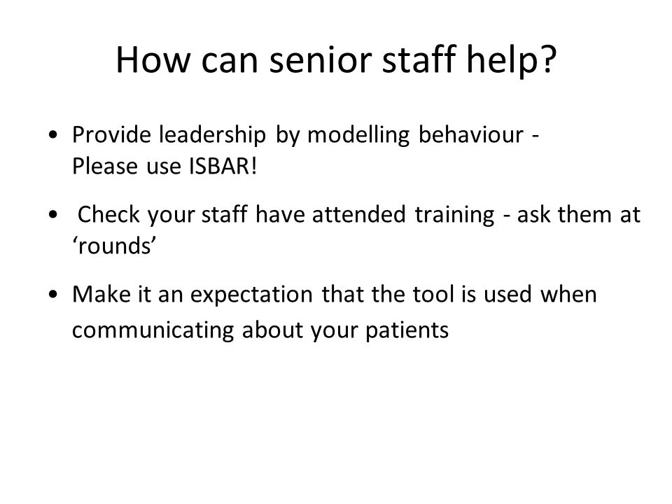 How can senior staff help