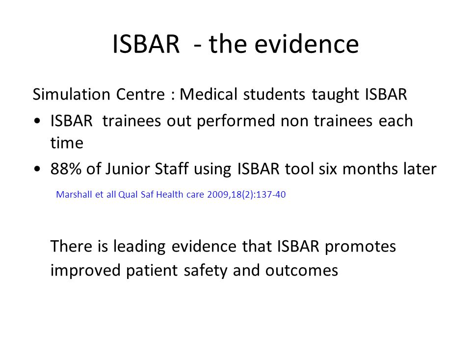 ISBAR - the evidence Simulation Centre : Medical students taught ISBAR