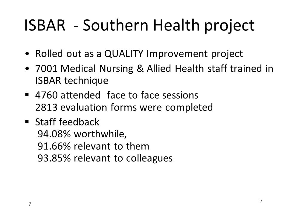 ISBAR - Southern Health project