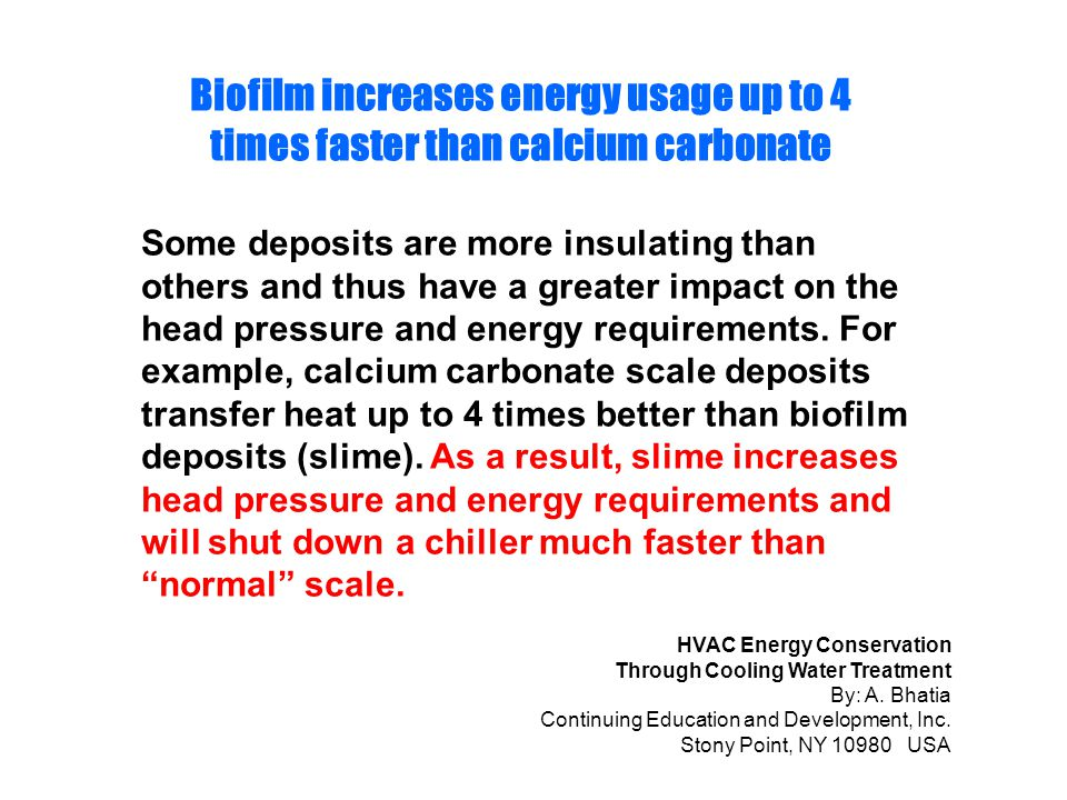 Biofilm increases energy usage up to 4 times faster than calcium carbonate
